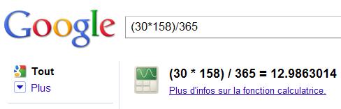 Calculatrice Google: (30 * 158) / 365 = 12.9863014