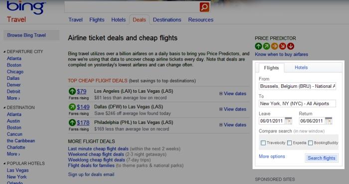 Trouver le formulaire Airfare search