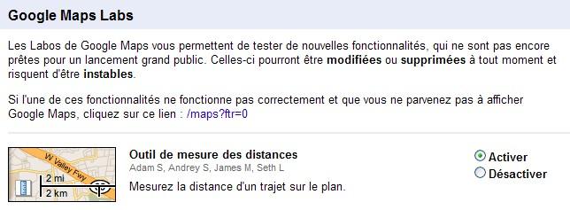 Fenêtre de choix des options Google Labs