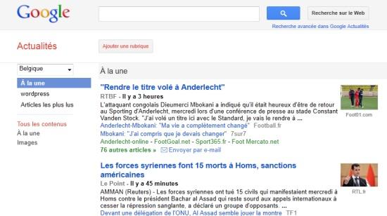 google news belgique