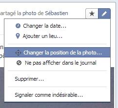 Facebook vous permet de changer la position de la miniature sur votre timeline