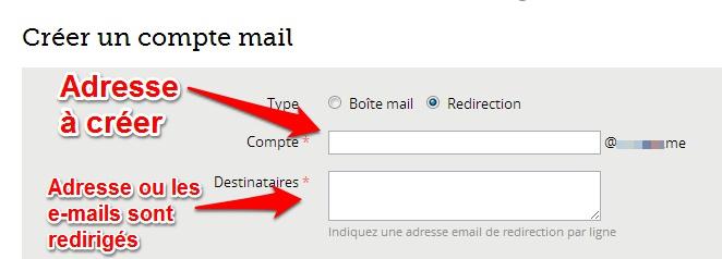 redirection adresse e-mail Gandi