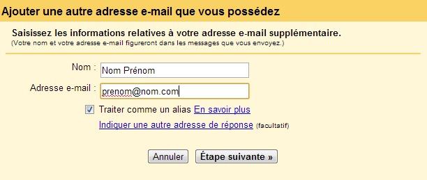 Alias Gmail configuration