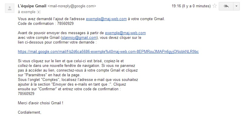Gmail, confirmation de l'alias pour votre adresse email personnalisée