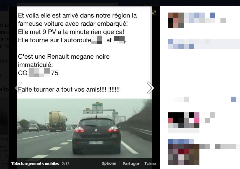 La renault mégane de la Gendarmerie Nationale avec Radar automatique sur Facebook pour la Gendarmerie Nationnale et ses radars