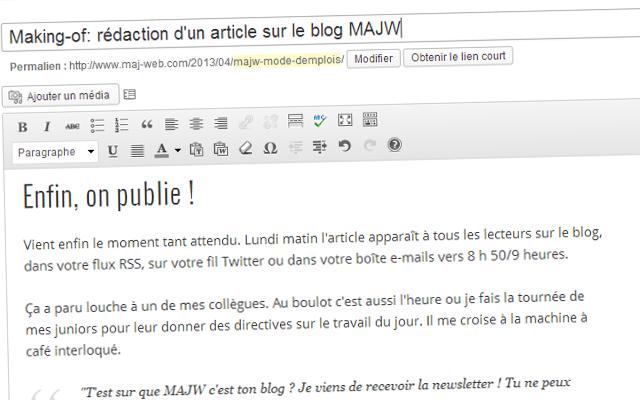 Pour le blog MAJW, rédaction de l'article making-of