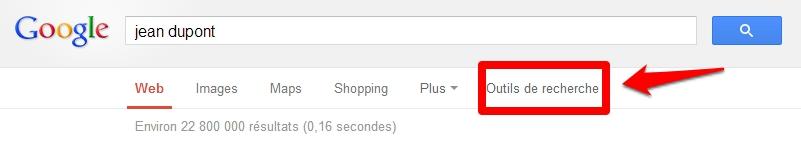 Accès outils de recherche Google