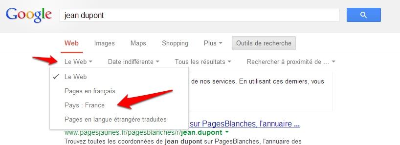 Choisir le pays des résultats Google
