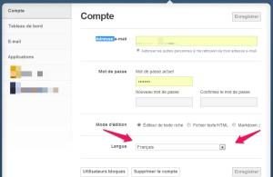 Liste déroulante pour choisir le français comme langue sur Tumblr