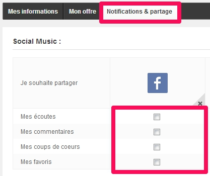 Options de partages de Deezer sur Facebook