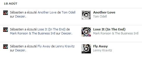 Listes de mes écoutes sur Deezer publiées sur Facebook
