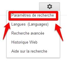 Accédez a vos parametres de recherche sur Google