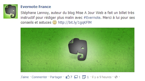 Partage d'un article du blog par Evernote France