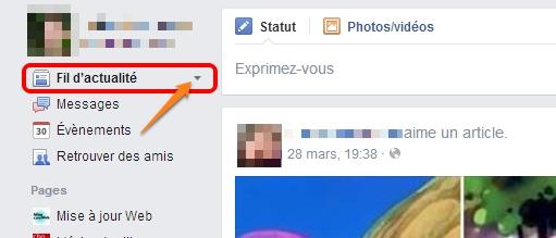 Choix du flux Facebook