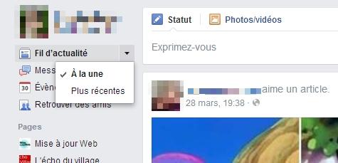 """Choix du flux Facebook """"Classique"""""""