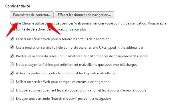 Trouver les option de confidentialité dans Google Chrome