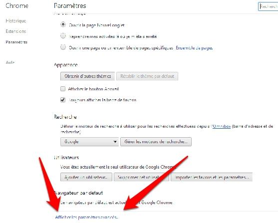 Parametres avancés de Google Chrome