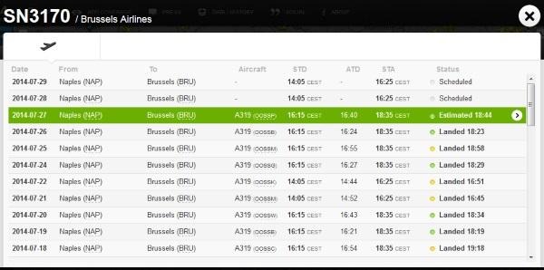 Liste des vols sur Flightradar24