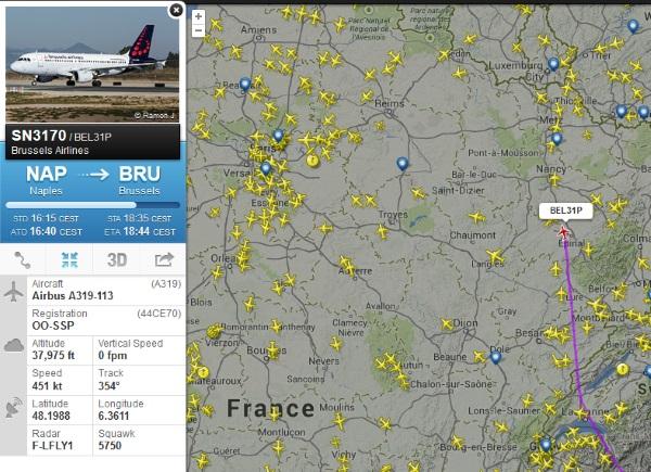 Flightradar24 localisation d'un avion