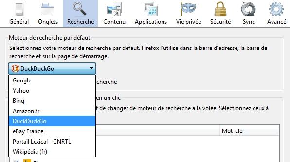 Choisir DuckDuckGo comme moteur de recherche par défaut dans Firefox