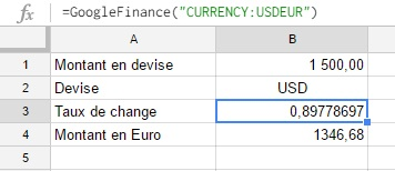 Taux de conversion entre EUR et USD