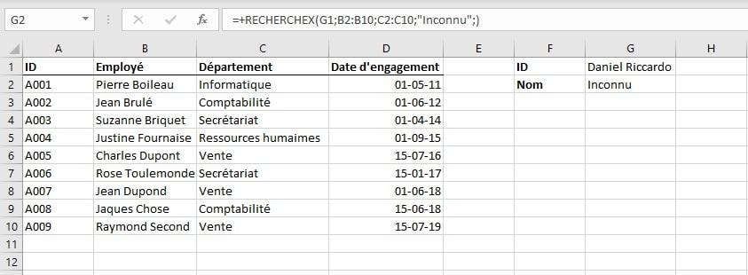RECHERCHEX: démonstration de l'argument [Si_non_trouvé] - Excel