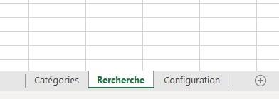 Onglets du fichier Excel des catégories cachées
