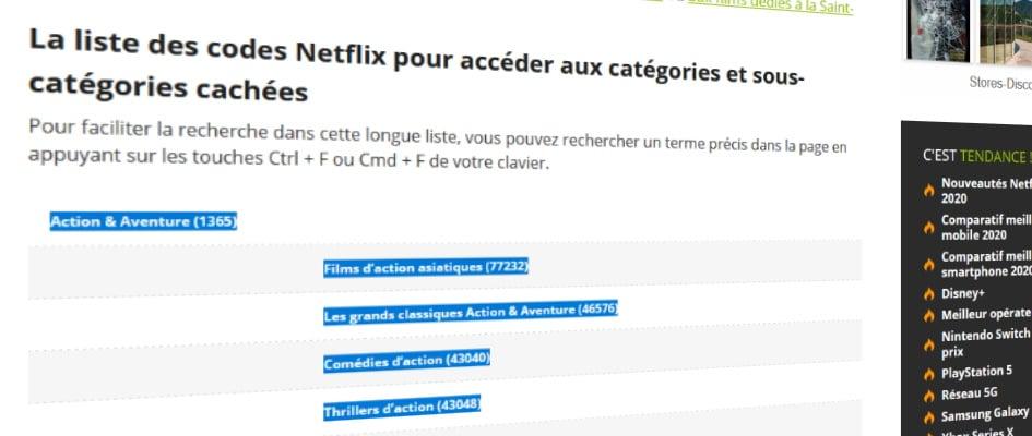 Les catégories cachées de Netflix