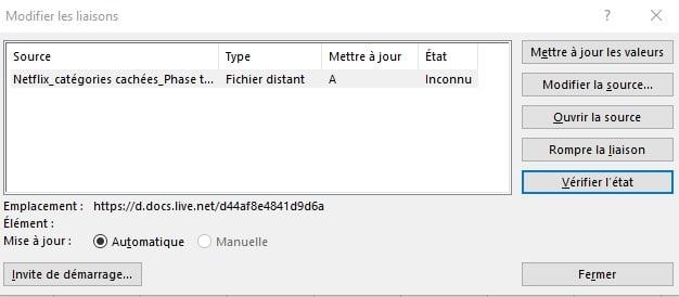 Casser les liens dans Excel vers des fichiers externes