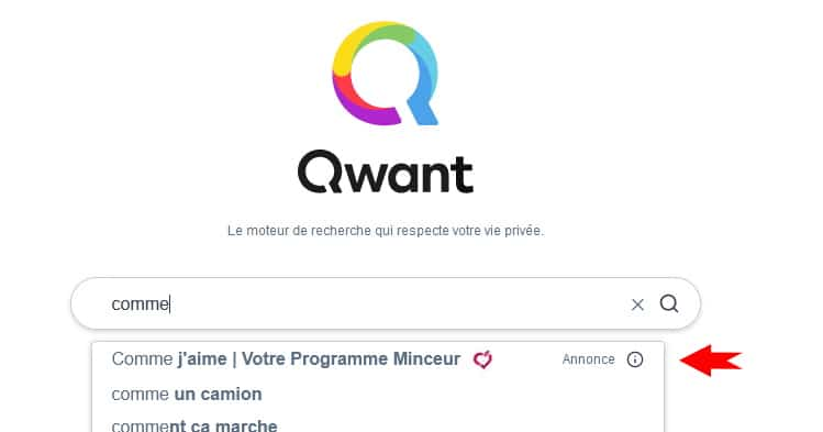 Publicité de type brand suggest du moteur de recherche Qwant