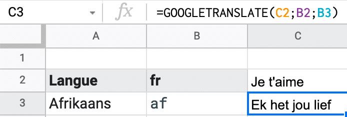 Formule simple pour traduire un texte avec la fonction GOOGLETRANSLATE