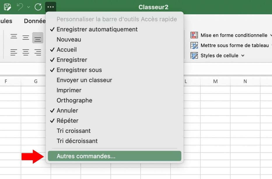 Personnaliser le ruban dans Excel pour Mac